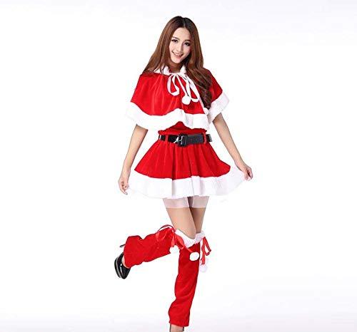 HOQTUM Weihnachtskostüme Schal Bunny Party Performance Kostüme Weihnachtskugel Makeup Kostüm Tops + Kurzer Rock + Schal + Gürtel + ()