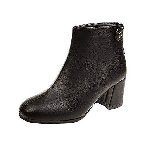 IWxez Damenmode Stiefel PU (Polyurethan) Winterstiefel Chunky Heel Square Toe Booties/Stiefeletten Schwarz/Dunkelbraun, Schwarz, US6.5-7 / EU37 / UK4.5-5 / CN37 - Black Square Toe Cowboy-stiefel
