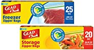 Glad Zipper Food Storage Freezer Bags 25 Count with Zipper Food Storage Bags, 20 Count (Pack of 1)