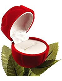 Meenaz White Red Plastic Rose Ring Box
