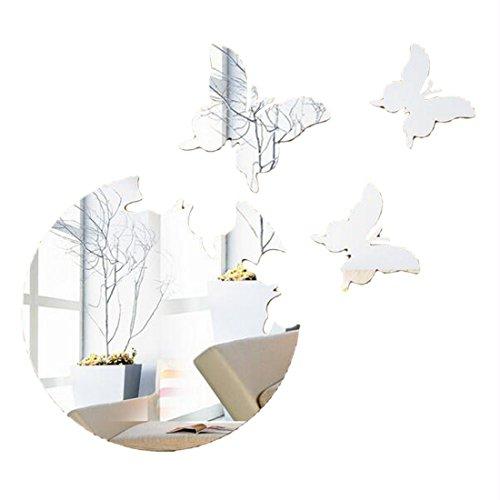 eber Aufkleber Diy Küche Acryl Spiegel Schmetterling Muster Silber ()