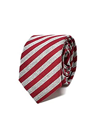Striped Red and Grey Men's Tie - 100% Linen - Classic, Elegant and Modern - (Ideal for a gift, a wedding, with a suit, at work .)