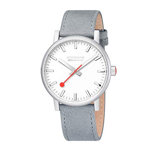 Mondaine Men's Evo2 Grey Leather Strap Watch MSE.40110.LH