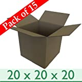 Pack of 15 Large Strong Home Removal Storage Cubed Sized Cartons - Double Wall Cardboard Boxes - 20' x 20' x 20' / 508mm x 508mm x 508mm