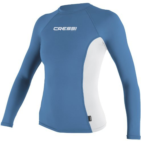 Lycra Langarm Rash Guard (Cressi Damen Rash Guard Langarm-Shirt, Hellblau weiß - MD)