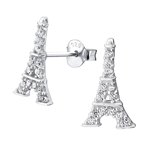 Laimons Damen-Ohrstecker Eifelturm glanz mit Zirkonia Sterling Silber 925 (Ohrringe Eiffelturm)