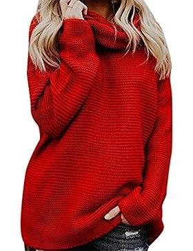 WanYangg Mujer Casuales Color Sólido Manga Larga Jersey De Punto Gordo Cuello Alto Líneas Gruesas Jerseys De Sueter...