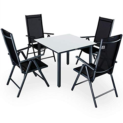 Casaria Sitzgruppe Bern 4+1 | Aluminium | 7-Fach verstellbare Hochlehner | Milchglas Tisch | Anthrazit - Gartenmöbel Set