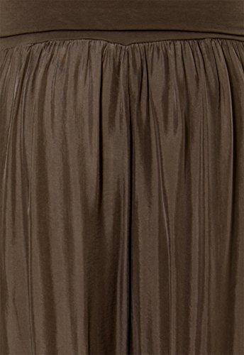 CASPAR KHS010 Damen elegante lange Seiden Chiffon Marlene Hose / Hosenrock mit hohem Stretch Bund, Farbe:dunkelbraun - 6