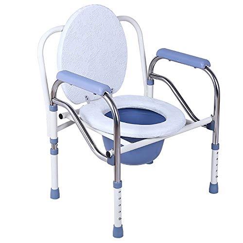 GBX Familie Ältere Schwangere Frau WC-Nachttisch/Badstuhl, Medizinisches Klappzubehör mit Sicherheitsrahmenschienen Nachttisch, für Senioren mit Kommodeimer und Spritzschutz,Weiß -