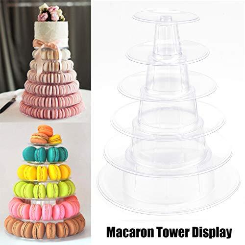 Cupcake-Ständer, 6-stöckig, rund, für Macaron-Turm, PVC, transparent, Dessert-Ständer, Cupcake-Baum, für Geburtstag, Hochzeit, Party, Servieren