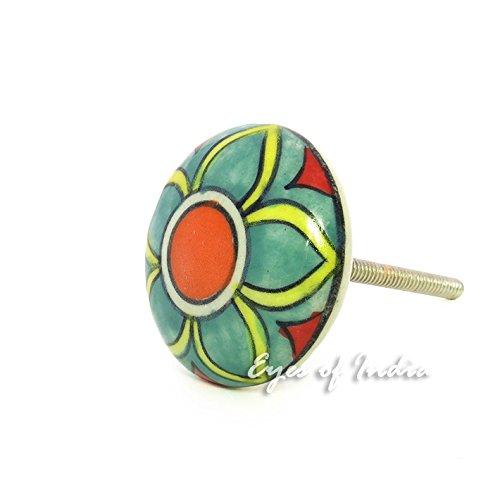 Eyes of India - Keramik Schrank Tür Kommode Knöpfe Griffe Dekorativ Shabby Chic Bunt Boho Unkonventionell - hellgrün #1 (Spaß Türklinke)