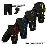 Cyclisme VTT Short, Cool-Max rembourré, Doublure intérieure Amovible, Off Road de qualité de Cyclisme pour Homme - L - Gris