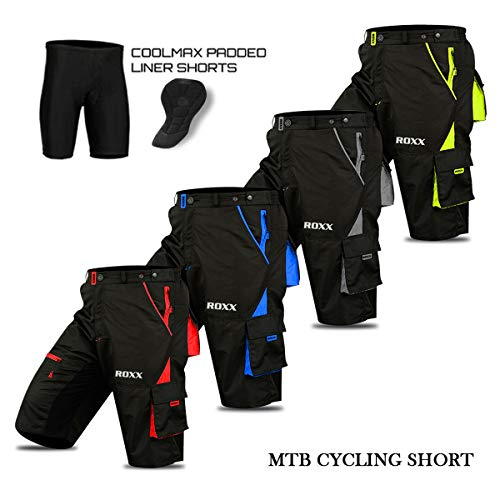 MTB Shorts Gepolsterte Cool Max abnehmbares Innenfutter Off Road Qualität Radhose - XXL - rot