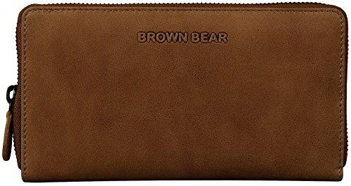 Brown Bear Damen Geldbörse Leder vintage camel Reißverschluss Conny ca