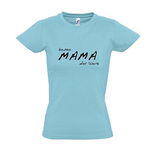Damen T-Shirt - Beste Mama der Welt - Muttertag Geburtstag S-XXL Atoll blue - schwarz