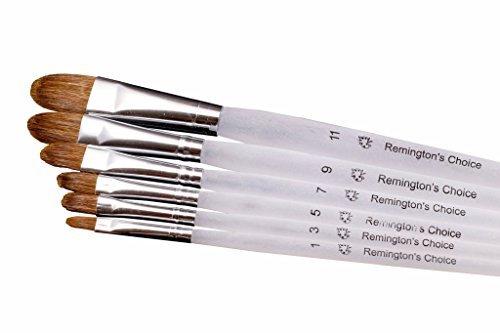 Remington\'s Choice Professionelle Pinsel, 6 Stück für alle Arten von Farben, Acryl, Öl und Aquarell, Gouache und Gesichtsmalerei Kunststoff-Griff, ideal für erfahrene Künstler und Anfänger