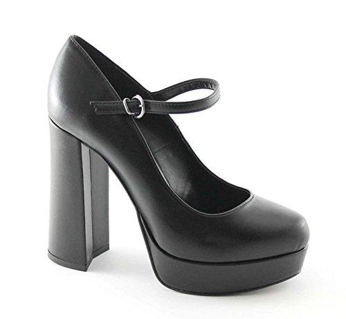 DIVINE FOLLIE 9082 nero scarpe donna decolletè cinturino tacco grosso 38