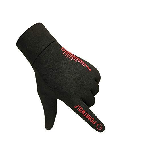 Gnzoe Winter Fahrradhandschuhe Handschuhe Schock Absorption Warm Winddicht Herren Handschuhe Fahrrad One Size Rot -