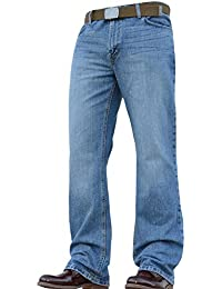 BNWT New Mens Designer Bootcut Flared Wide Leg Heavy Denim Jeans Pants All Waists and Sizes