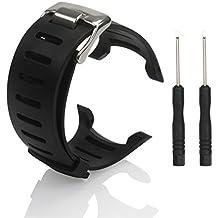 Reloj banda correa–phifo suave negro de goma de repuesto reloj banda correa con herramienta gratuita para Suunto T1T1C T3T3C T3D t4C t4d ss012801000ss012804000, negro