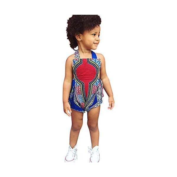 HEETEY Pijama para niña, para niños pequeños, con Estampado Africano, sin Mangas, con Cinta para el Pelo, Ropa para… 3