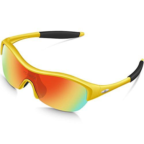 Torege TR90 Flexible Kinder Polarisierte Sonnenbrille Brille für Jungen Mädchen Alter 3-10 TR001, Gelb/Schwarz ...