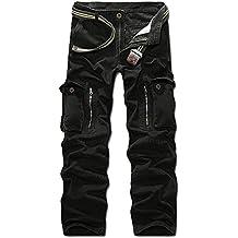 Panegy - Nuevo Pantalón Largo Cargo Algodón Multibolsillos Pantalones Militares con Cinturón Pants para Hombres Chicos