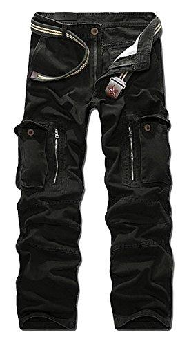 Panegy - Nuevo Pantalón Largo Cargo Algodón Multibolsillos Pantalones Militares con Cinturón...