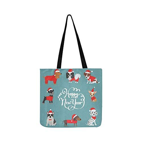 Grußkarte 2018 Frohes Neues Jahr Canvas Tote Handtasche Schultertasche Crossbody Taschen Geldbörsen Für Männer Und Frauen Einkaufstasche