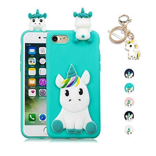 Kawaii-Shop Kompatibel fur iPhone 5 5S SEHülle Hellblau Einhorn Cute 3D Silikon Tasche Squishy...
