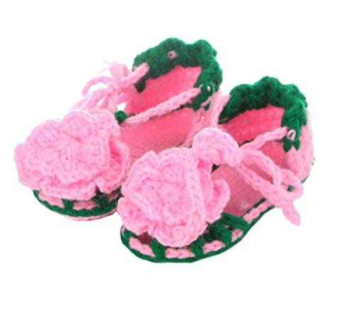 Bigood 1 Paar Strickschuh One Size Strick Schuh Baby Unisex süße Muster 11cm Blüte Pink A Pink B
