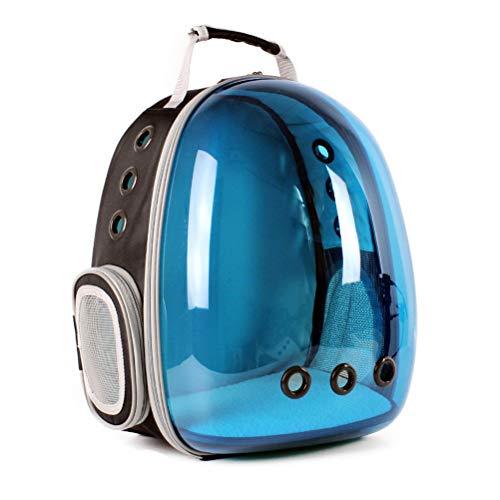 Haustier Reisetasche Strahlenschutz Katze Hund Tasche Haustier Space Bag Out Bag tragbare Rucksack Schulter transparentes Fach atmungsaktiv (Farbe : Blau)