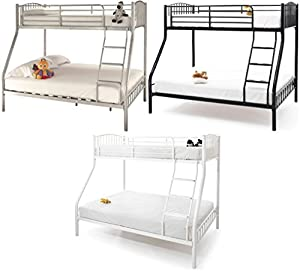 Triple trio 3 sleeper kids, childs 3ft single, 4ft6 double metal bunk bed frame.Silver, Black or White