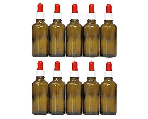 10 x 50 ml bottiglie pipette (vetro marrone) con pipetta di vetro, bottiglie di vetro ambra con pipetta e contagocce per dosaggio di liquidi, ad esempio colliri, con 10 marcatura etichette