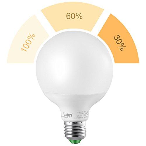 Elrigs 3-in-1 E27 Globe LED Lampe, Dimmen ohne Dimmer, 12W-6W-3W, Warmweiß(3000K), Szenenwechsel, ersetzt 100W-60W-30W, 1100/550/260-Lumen