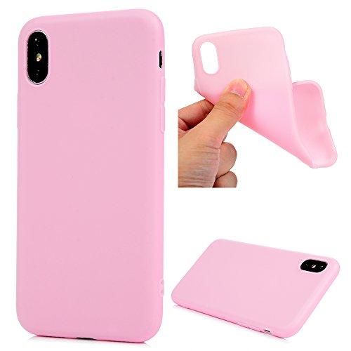 Funda iPhone X, KASOS Carcasa iPhone X Case Silicona TPU Blanda Mate - Rosa