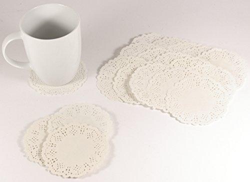 K&B Vertrieb Tassenuntersetzer Tischdeckchen Papiertassendeckchen Untersetzer Papier Weiß (100 Stück)