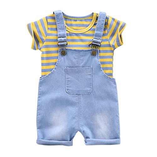 Lookhy Kinder kurzärmelige gestreifte Männer und Frauen Baby Kurzarmband zweiteilig Baby-Jungen Bekleidungsset Set Piraten Robbe Uni