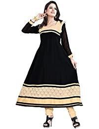 JHEENU Women's Georgette Dress Material (LSROYAL07_Free Size_Black)