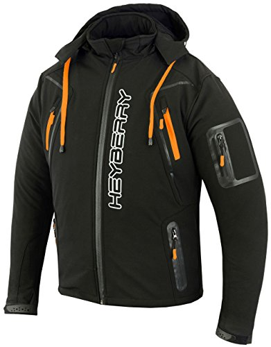 Heyberry Soft Shell Motorradjacke Textil Schwarz / Orange Gr. M