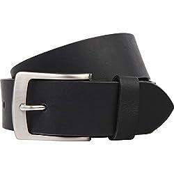 LINDENMANN- Hombre, 393 negro cinturón de cuero bw105