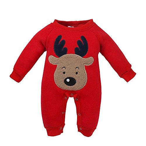 i Neugeborenes Kind Baby Girl Boy Weihnachten Kleidung Deer Strampler Overall Pyjamas Outfits (Rot,90) ()
