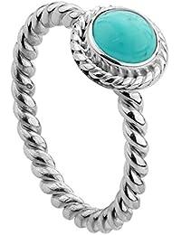 Nenalina - Damen Ring Silberring aus 925 Sterling Silber handgearbeitet besetzt mit Türkis Edelstein - 212999-018