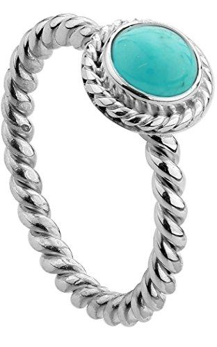 Nenalina - Damen Ring Silberring aus 925 Sterling Silber handgearbeitet besetzt mit Türkis Edelstein, Gr. 56-212999-018-56