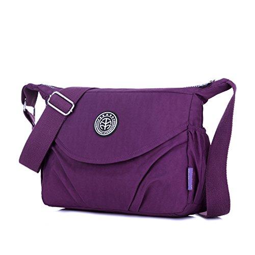 Outreo Umhängetasche Mode Reisetasche Leichter Messenger Bag Lässige Kuriertasche Damen Taschen Wasserdicht Schultertasche Mädchen Sporttasche Lila
