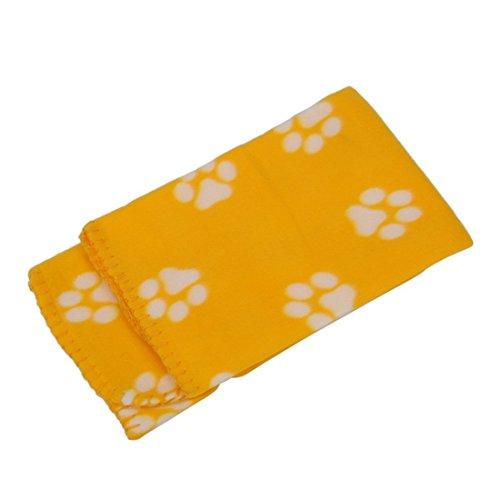 SODIAL(R) 60 * 70cm caliente suave lindo acogedor caliente impresiones de la pata del animal domestico del perro del gato Fleece Mat Manta Cama (blanco impreso huellas amarillas)