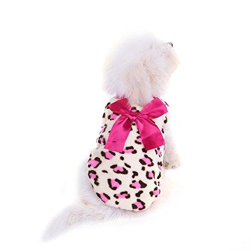 Haustier Hund Katze Dick Wintermantel mit Leopardmuster, Niedlich & Warm Winterjacke Schneeanzug für Kleine Hunde - Rosa,XXS/XS/S/M
