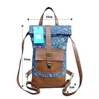 Kleiner Denim Rucksack mit Ledereinsatz.Blau-braune Umhängetasche mit rucksackfunktion.Foldower Tasche mit Paisley Muster