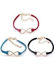 SODIAL(R) Lote de pulsera de aleacion - Juego de Infinito Cord Bracelet Negro, rojo y azul